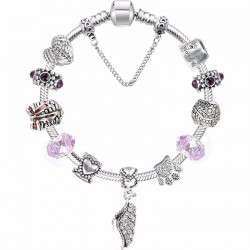 Bracelet style Pandora Femmes Fit, Charms pendentif feuille strass.
