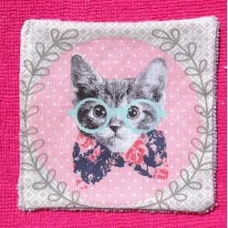Lingette ou débarbouillette lavable en microfibre chat