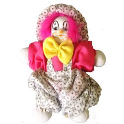 Poupée fille de clown tissu et porcelaine